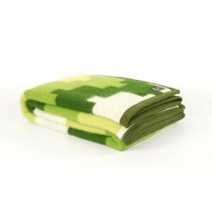 Deka wool-cotton Tetris zelená